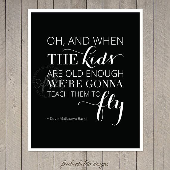 Art Print / DMB - You and Me - Teach them to Fly on Etsy, $10.00