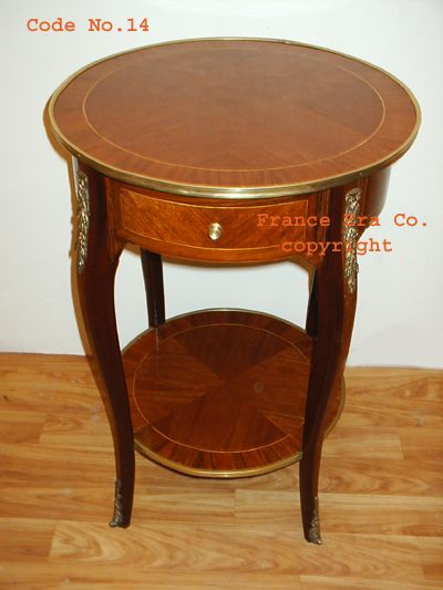 Wonderful French Louis XV End Round Table In Rosewood, Lower Shelf ,with One Drawer  And