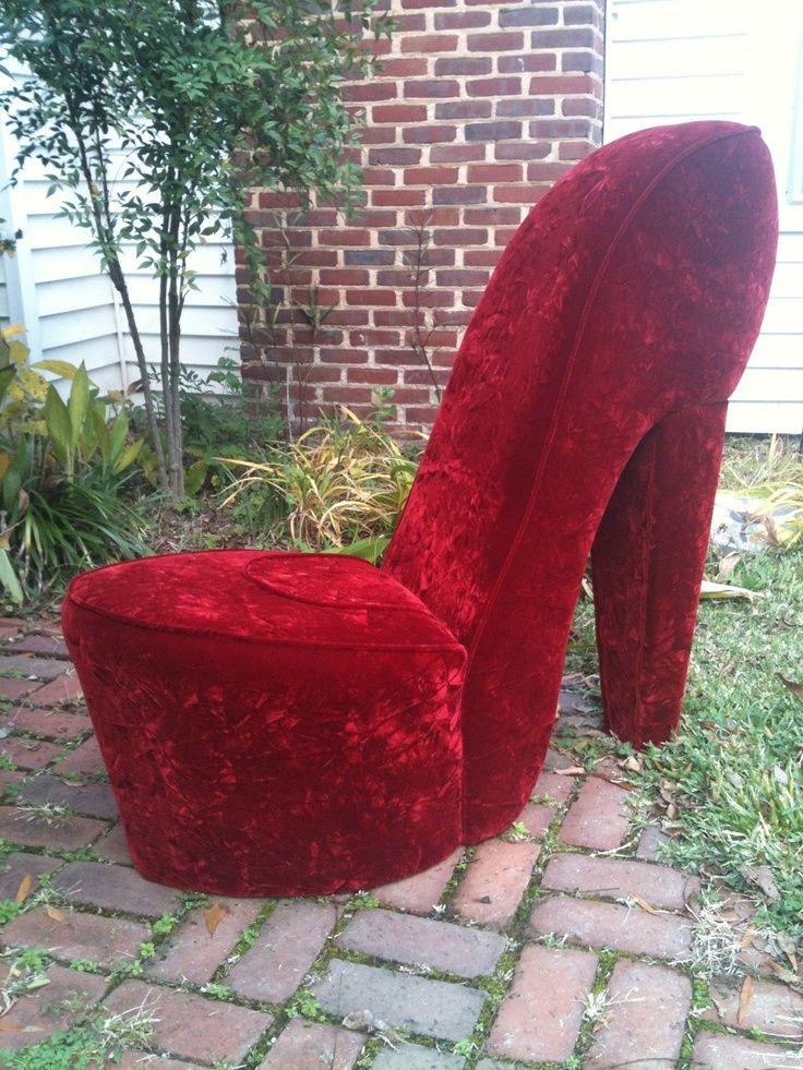 Handmade Solid Red High Heel Shoe Chair #heels #high Heel Shoes
