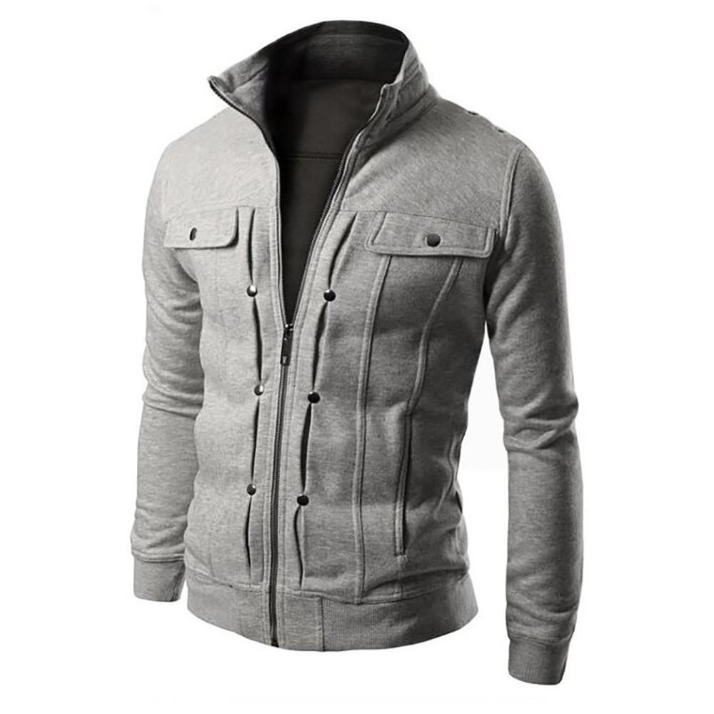 e125c13b1d3 malianna New Men Military Coat Slim Fit Stand Collar Tops Jacket Winter  Outwear Blazer
