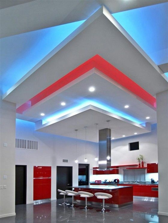 A Modern Equipped Kitchen With A Dash Of Red Blue Lumilum Color - Led strip lights for kitchen ceiling