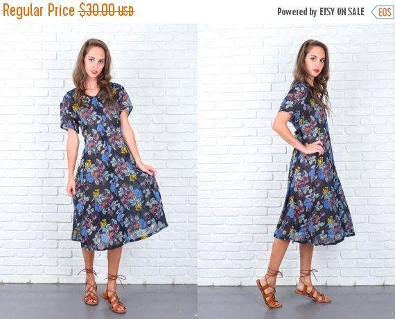 ON SALE Vintage 80s Blue Midi Dress Retro Floral by thekissingtree
