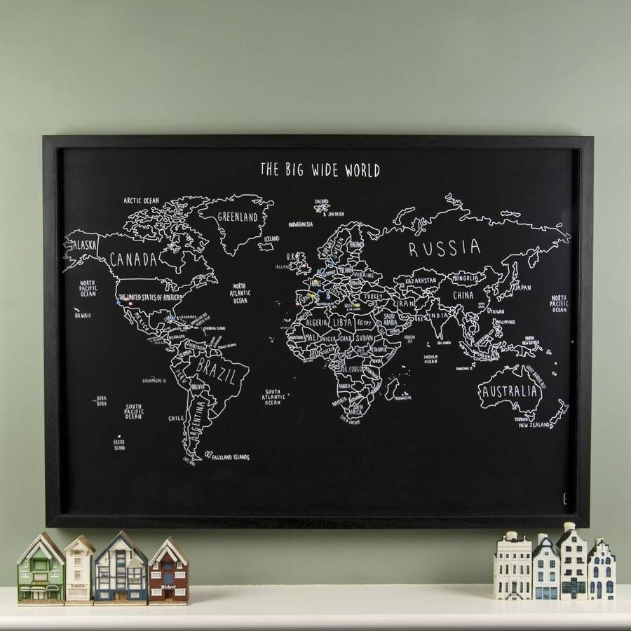 Personalised World Travel Map With Pins – Framed World Travel Map