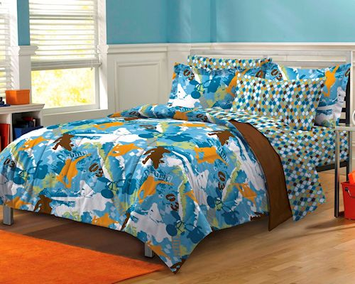 Nice Blue Extreme Sports Skateboard Bedding Twin XL Or Full Bed In A Bag  Ensemble Teen Boys