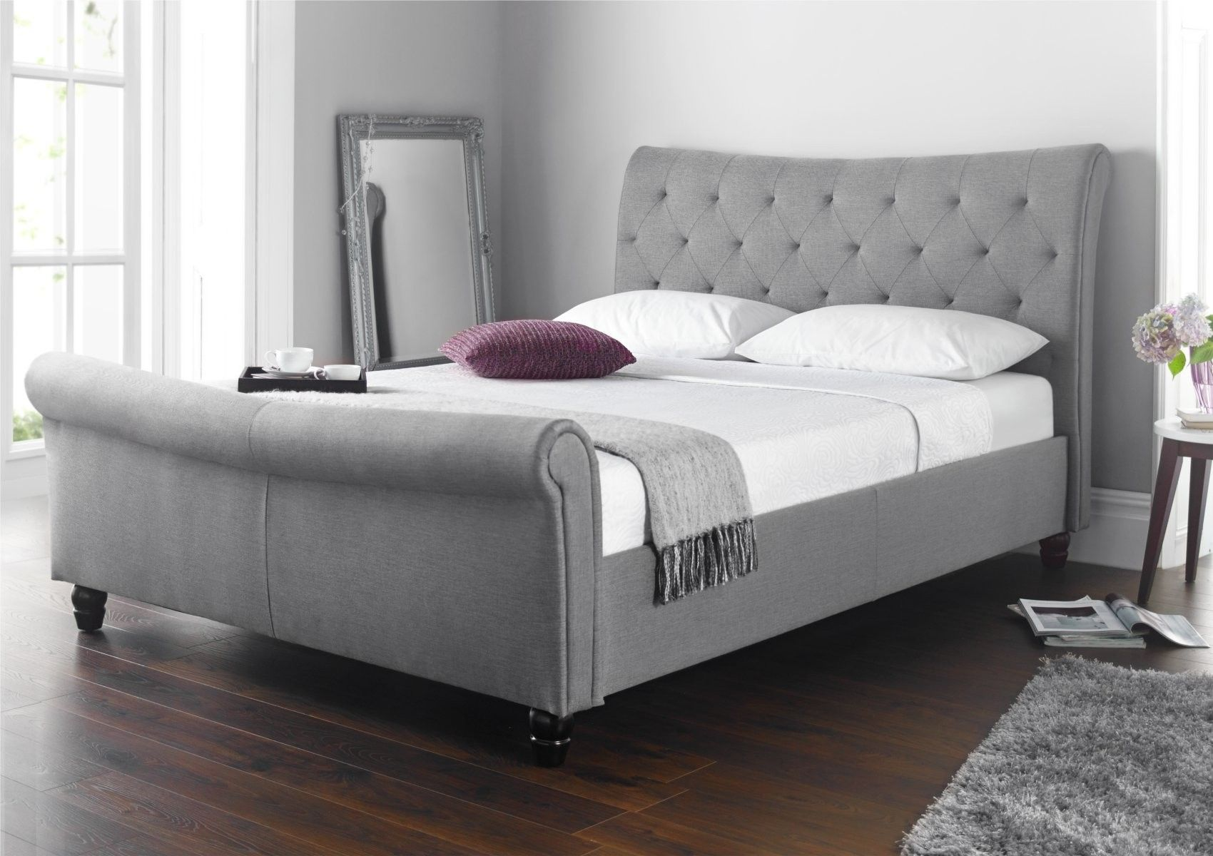 Upholstered sleigh bed frame - Seville Upholstered Sleigh Bed Grey King Size Beds Bed Sizes