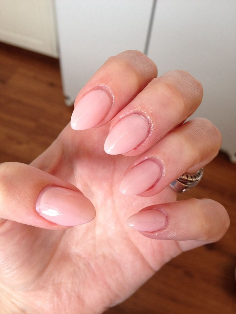 Current nails! Nude almond shape. I\'ve been filling my acrylics ...