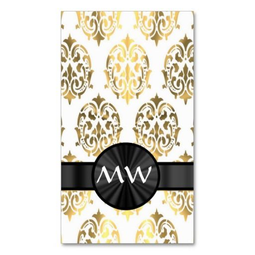 Gold and white damask business cards