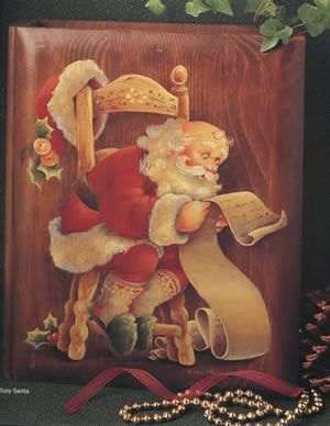 """Busy Santa"" by Shirley Wilson. Find this design in Merry Christmas Chronicles Big Red Book. Paint it on a wood keepsake box. http://hofcraft.com/bkws202shirleywilson.htm"