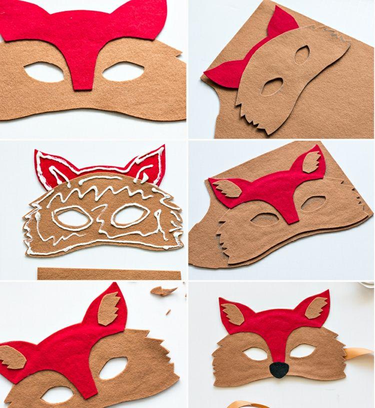 tiermasken basteln ohne n hen fuchs filz kleben braun rot. Black Bedroom Furniture Sets. Home Design Ideas