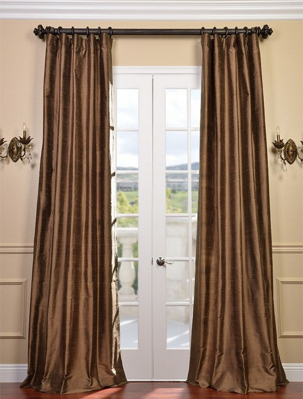 Brown Satin Curtains Silk Mocha Curtain Panel Panels Drapes