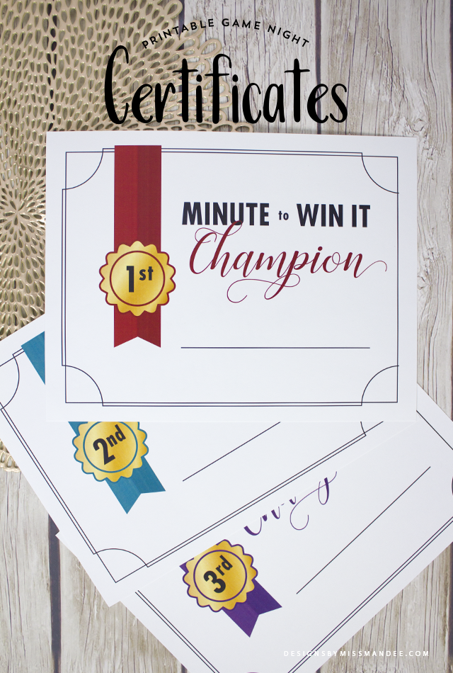 Minute To Win It Printable Certificates Youth Day Pinterest