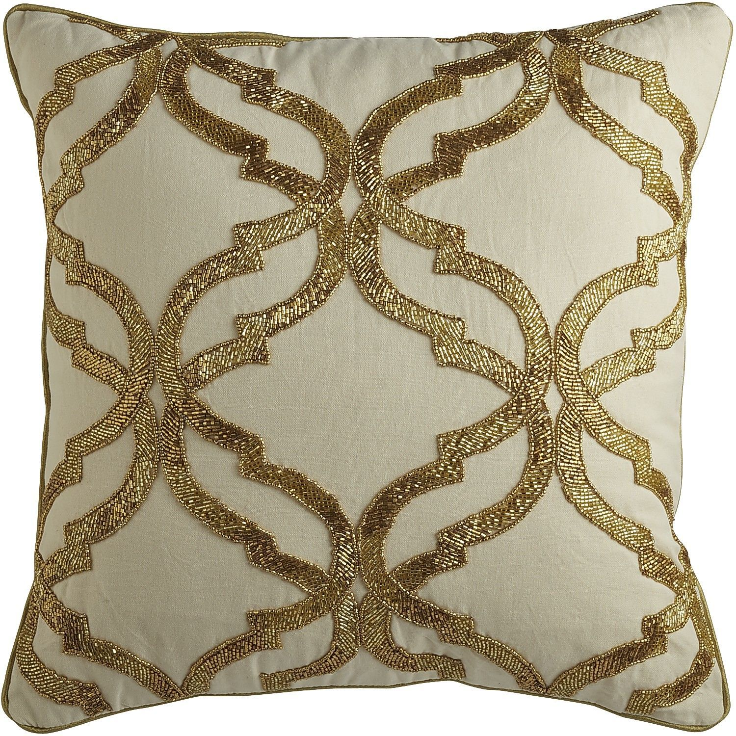 Gold Beaded Geometric Pillow Ivory Pier 1 Imports Ivory