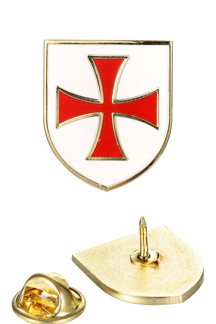 Knights Templar Crusader Red Cross White Shield Lapel Pin Badge Medal Brooches