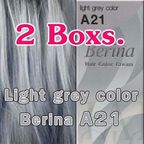 2Box Berina A21 Light Grey Silver Color Permanent Hair Dye Style Punk For Unisex
