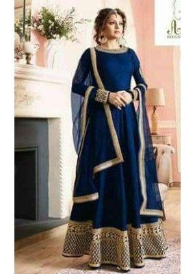 0b0d352051 Festival Wear Navy Blue Pure Banglori Anarkali Suit - 7003-02 in ...