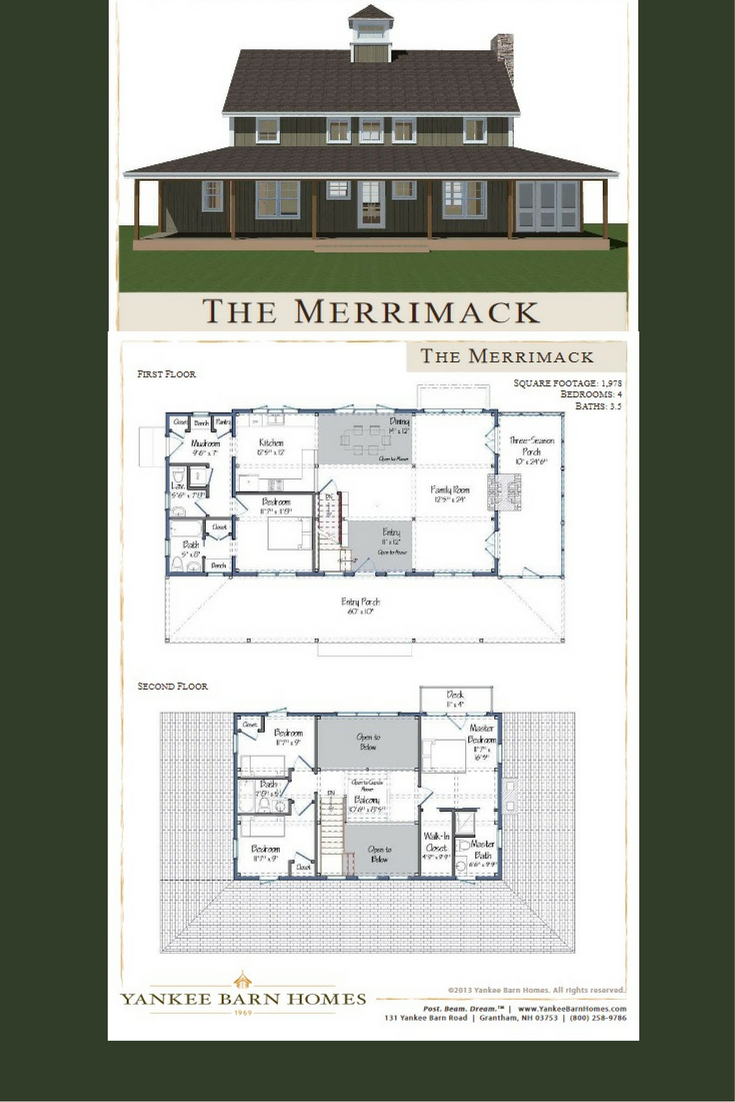 Merrimack   DreamHouse  Plans   Pinterest   Barn house design  Open     Great open floor plan barn house design under 2000 sq ft  4 bedrooms and  3 5 baths with optional 2 car garage below  Visit to see more and download  floor