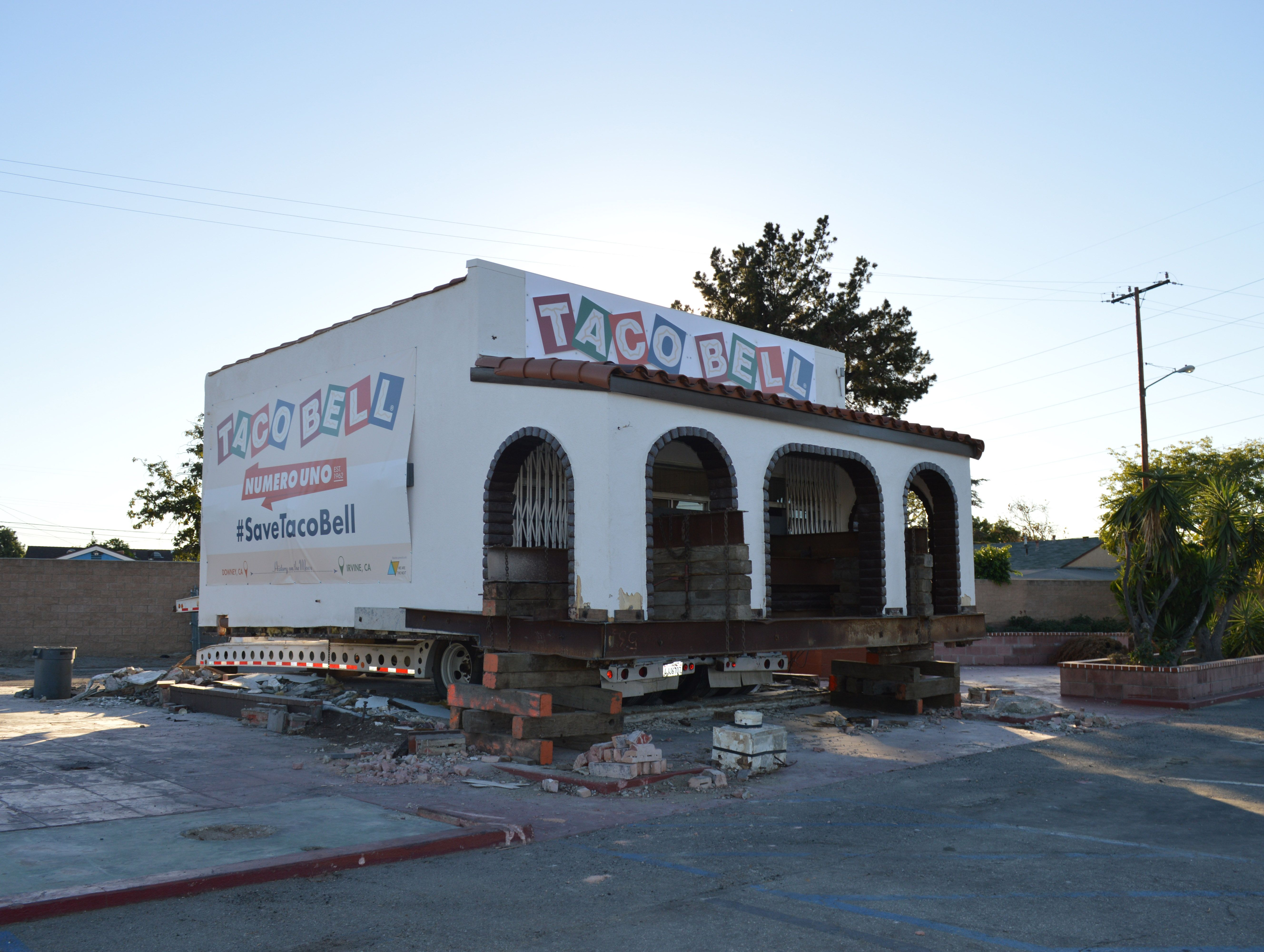 The fast food company is moving the 53-year-old building to Irvine on Thursday night
