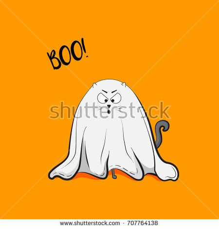 Vector scary playful cat ghost illustration. Halloween 2018