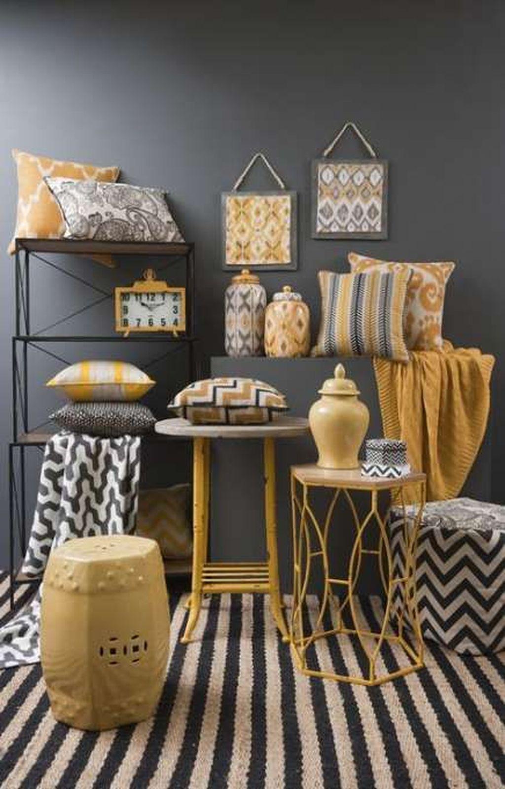 yellow and grey wall art the range