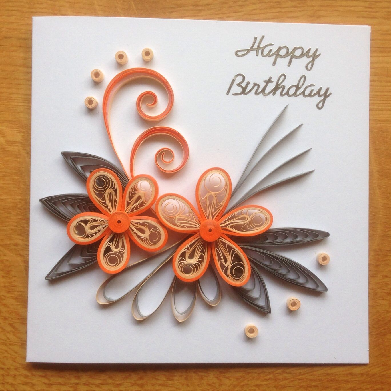 Quilling birthday card orange f dselsdagskort for Quilling designs