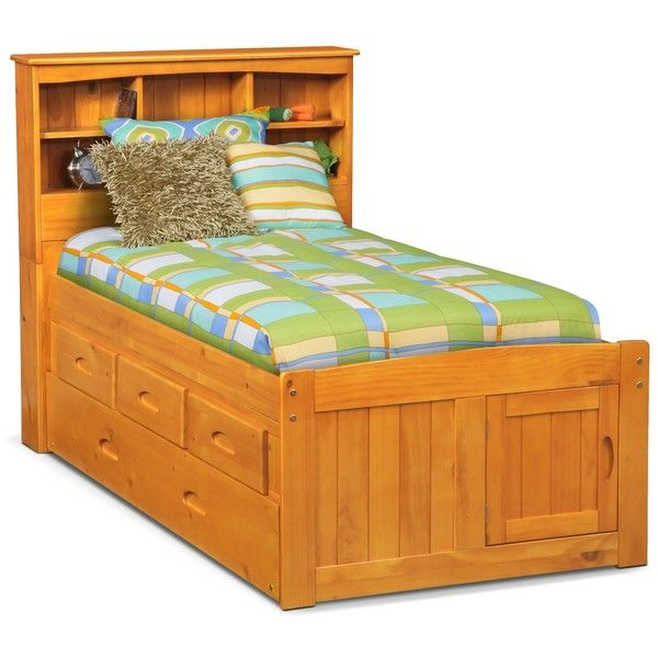 Ranger Pine Twin Bookcase Bed With 3 Drawer Storage Trundle