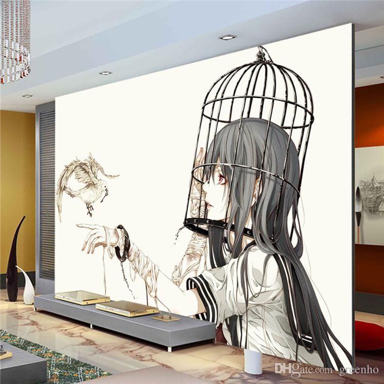 Anime Wall Art cartoon wall mural pigeon & girl photo wallpaper modern minimalist