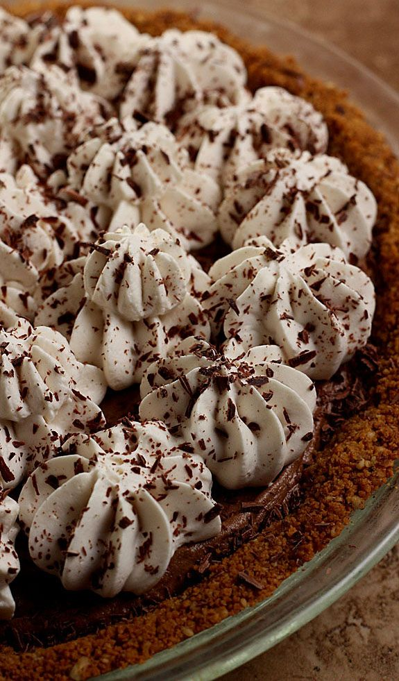 French Silk Pie with Graham Cracker Crust, Espresso and Kahlua