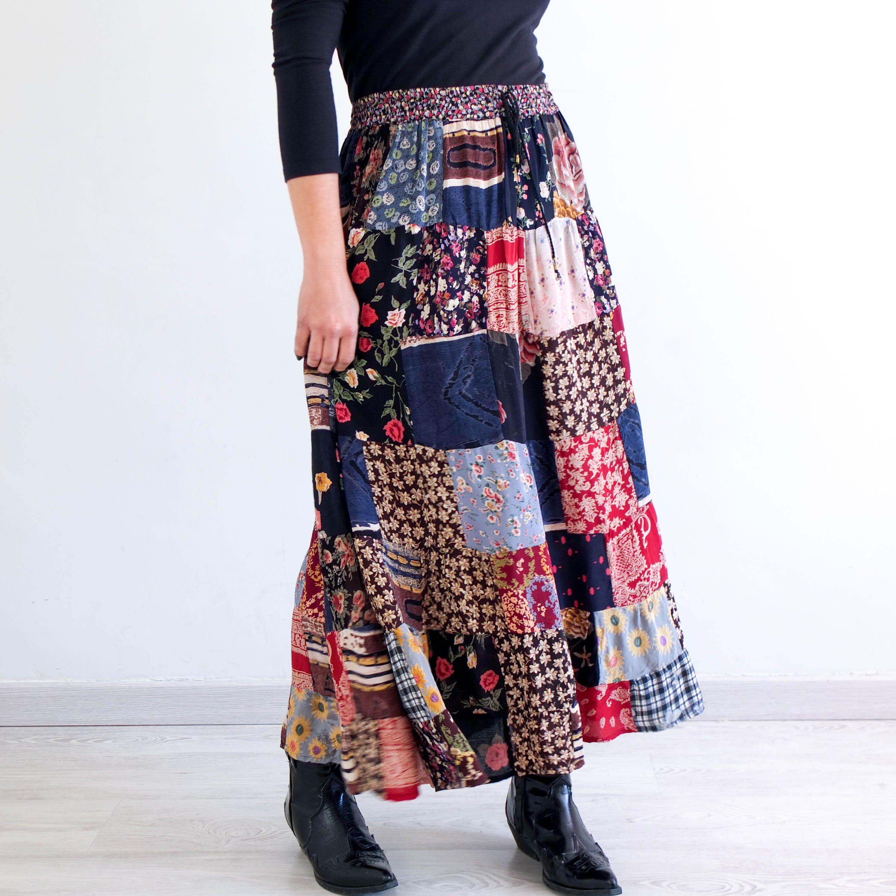 size S Fantasy kawaii long skirt rainbow pastel candy midi skirt Vintage 60s 70s psychedelic skirt