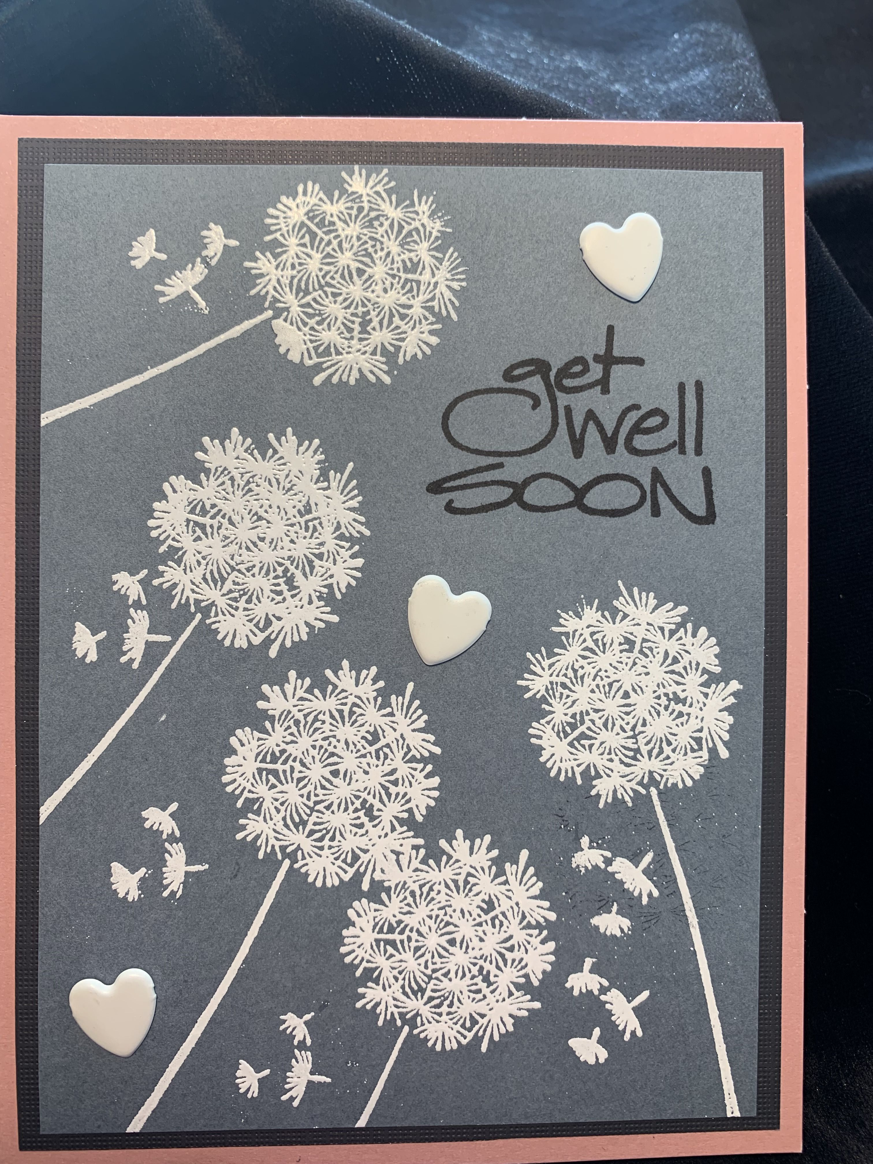 card madeusing versa mark ink and white embossing