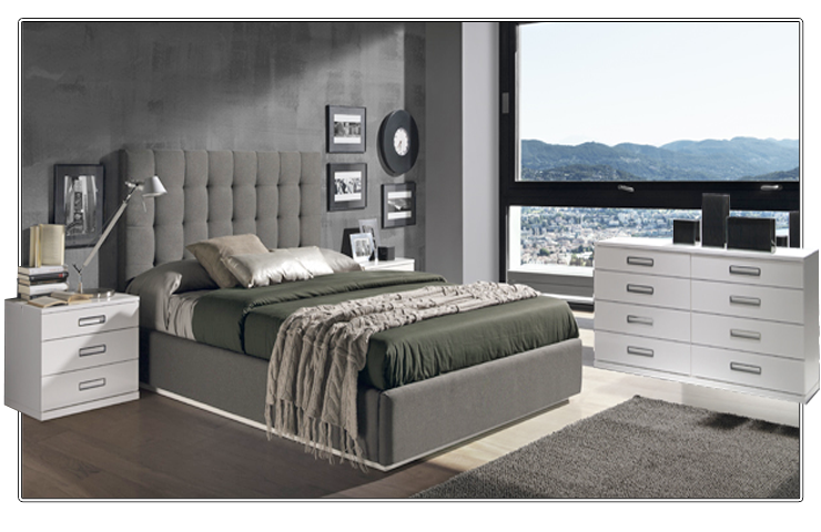 dormitorio de matrimonio con cabecero tapizado