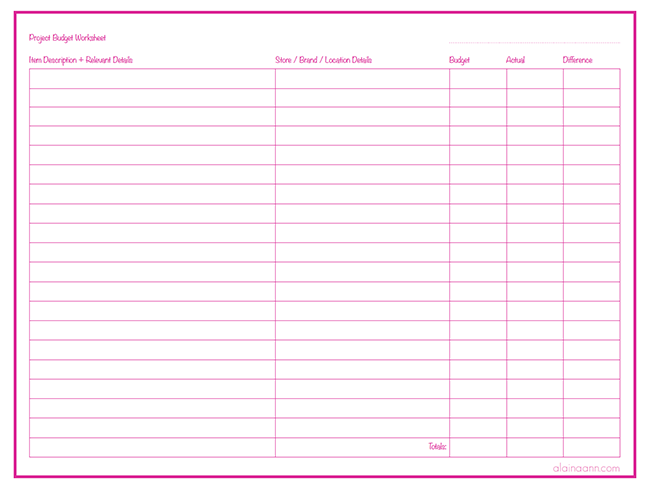 Project Budget Worksheet {Free Printable}  Free Printable Expense Sheets