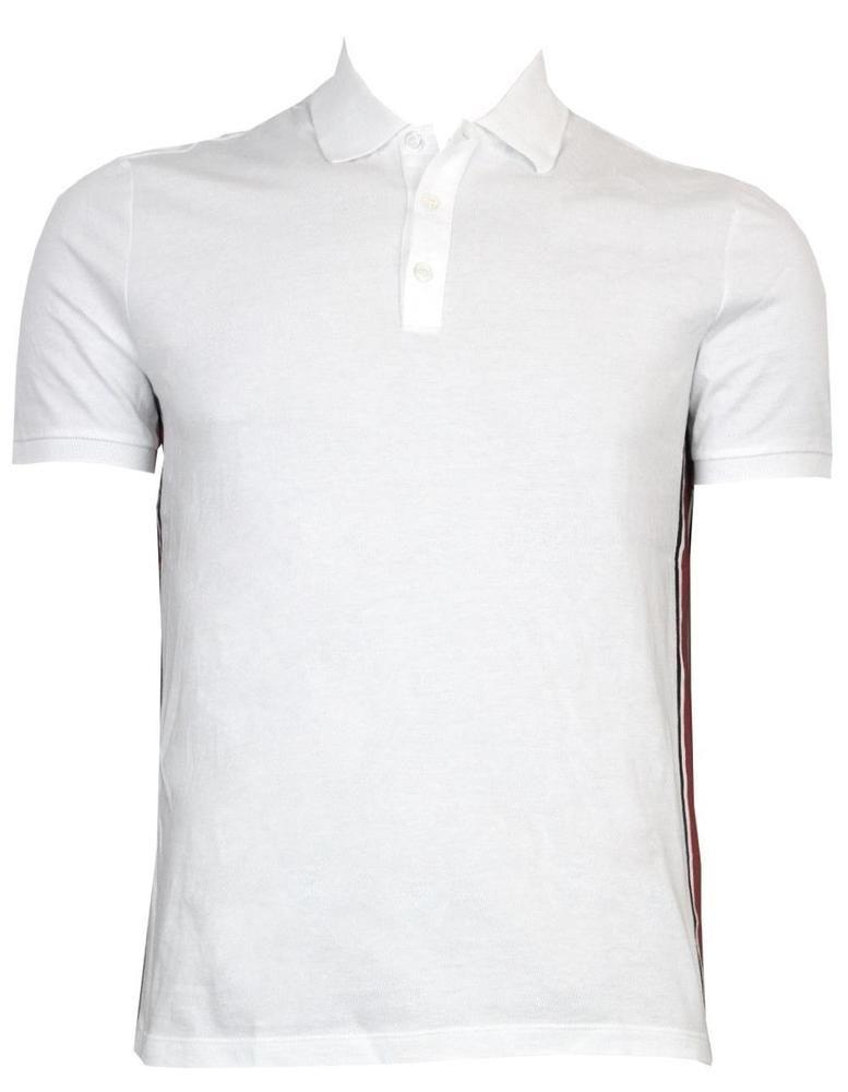 fc83a63ea1a New Gucci 353903 White Cotton Black Red Web Stripe Polo Golf Shirt Medium   Gucci…
