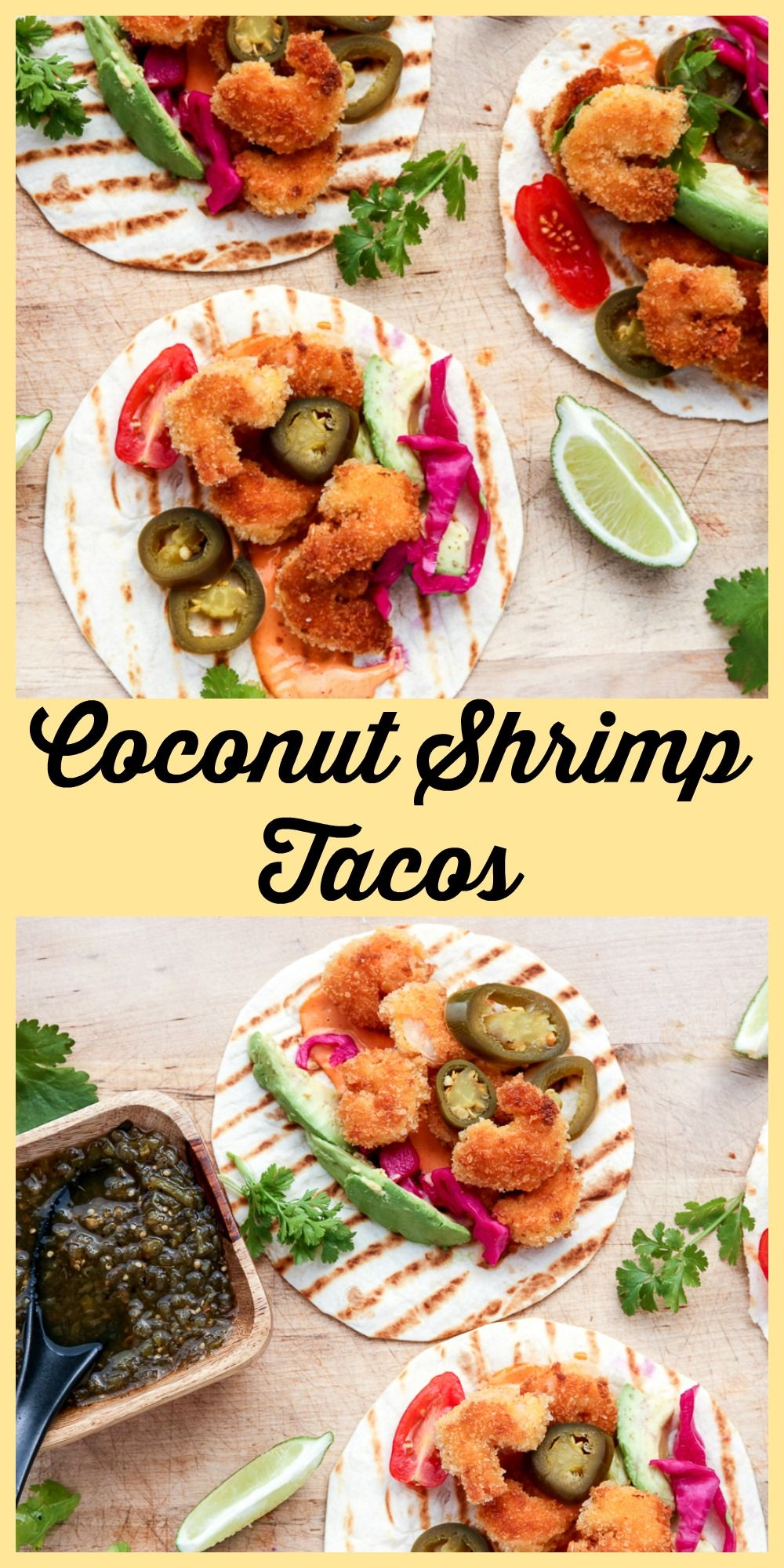 Golden Crispy Coconut Shrimp are delicious on Tacos.
