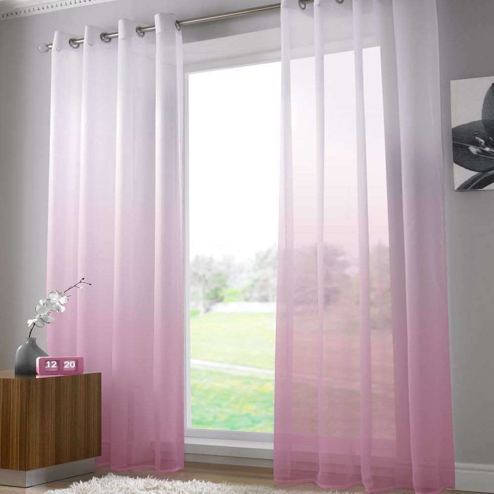 Harmony Modern Ring Top Voile Curtain Panel Dusky Pink Pinterest
