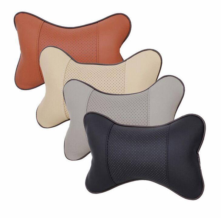 Baru 4 Warna Kulit Lubang Menggali Headrest Mobil Headrest