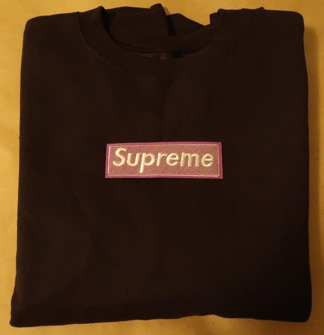 Supreme Crewneck Box Logo Black/Purple Large Hand
