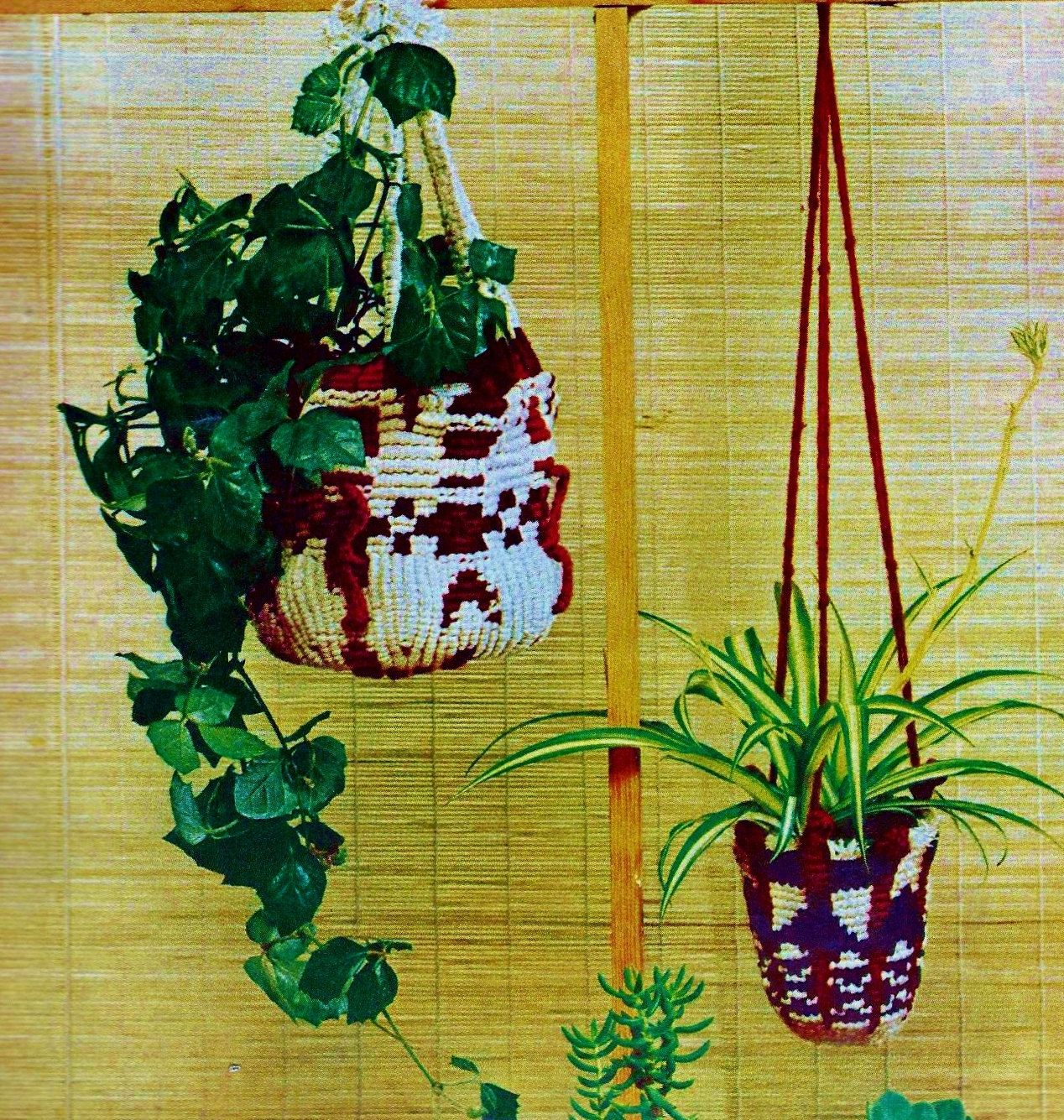 Native American Style Macrame Plant Pot Covers with Hanging Cords PDF Macrame Patterns by MomentsInTwine on Etsy