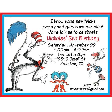 dr suess birthday Dr Seuss Birthday Invitation – Thank You Party Invitation Wording