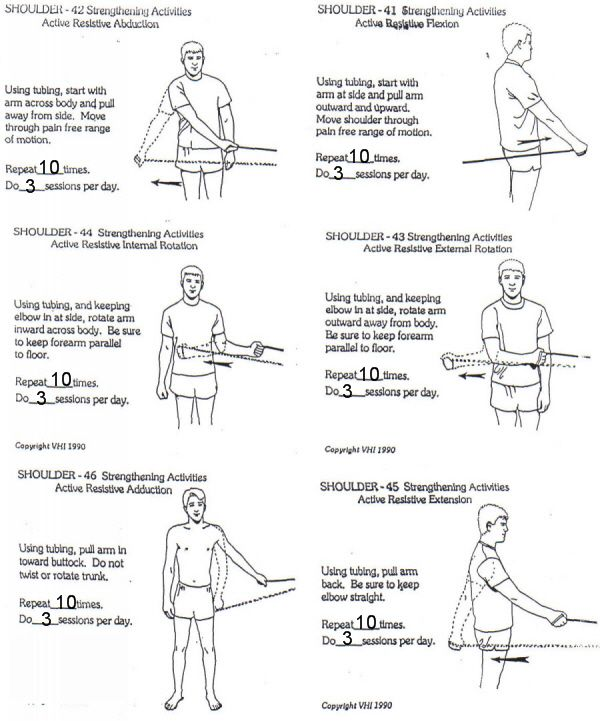 Shoulder stretches and Theraband exercises to strengthen ...