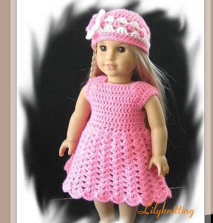 Pattern In Pdf Crocheted Doll Dress For American Girl Gotz Or