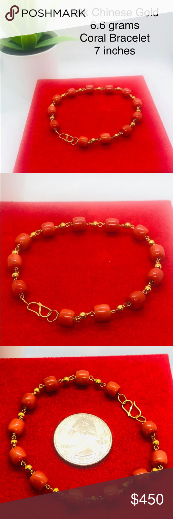 18k Real Chinese Gold Coral Bracelet 100% Real Coral