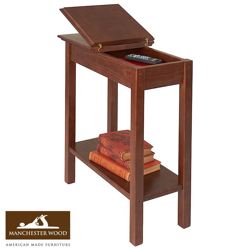 When adding space saving small end tables to your home consider Manchester  Wood furniture selection Declutter with chairside or Chairside Storage Table 11 wide Laurie Dan s Living Room