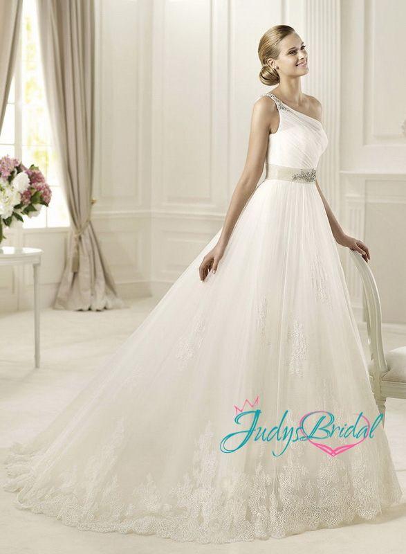 Fresh JW One shoulder full tulle ballgown wedding dress flowy