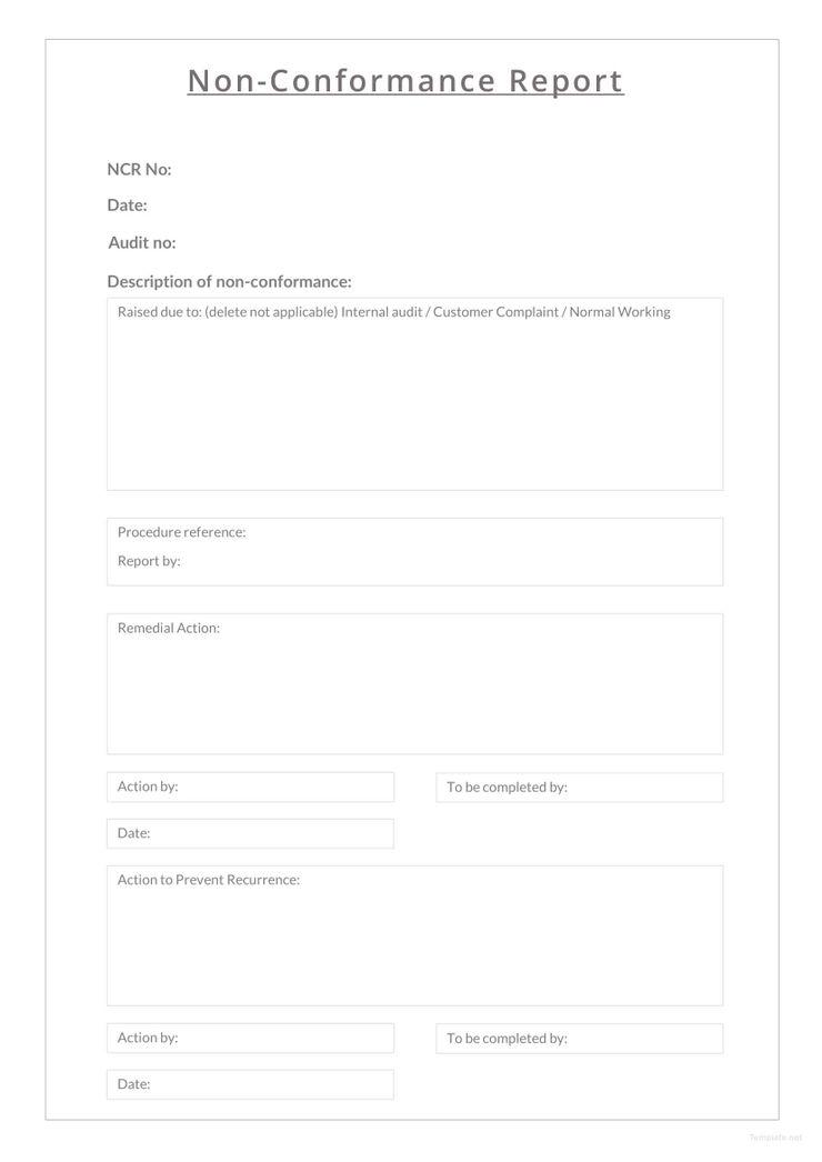 Free Non conformance Report Sample | Free Designs | Free design