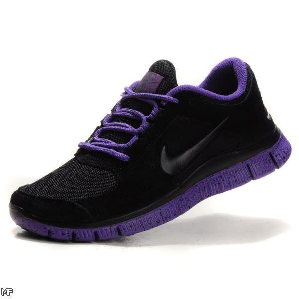 Best Discount Nike Free Run 3 Womens Black Club Purple Running Shoes Online