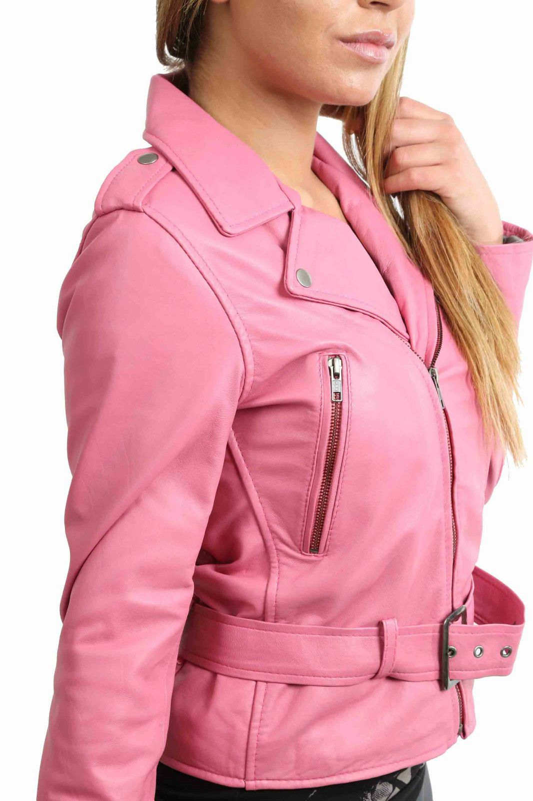 ABBI Womens fitted Soft Real Leather Biker Jacket Pink Funky Sexy ...