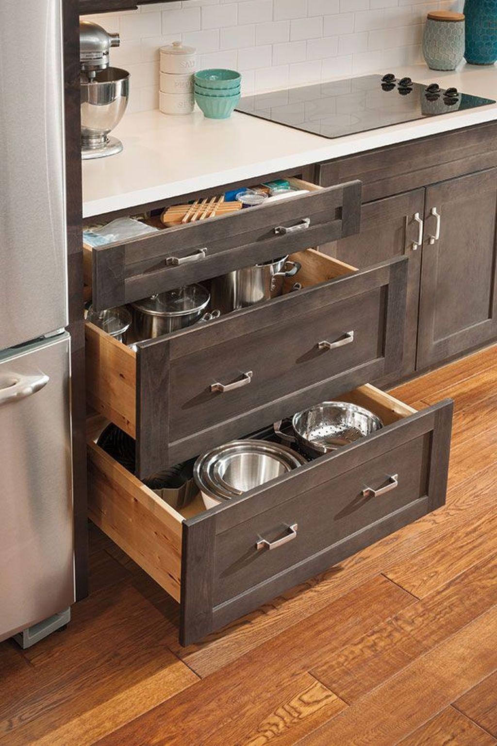 33 Attractive Small Kitchen Design Ideas In 2021 Budget Kitchen Solution Kitchen Design Small Kitchen Drawers Kitchen Drawer Organization