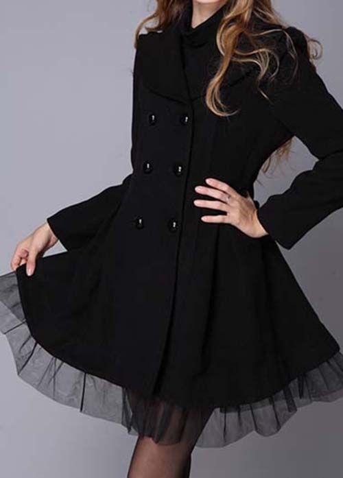 Vêtements Gothique Tulle En Avec Manteau Volant Noir OxwqnTY