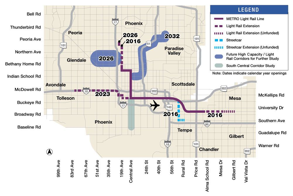 phoenix rail system map Mile System Map System Map Light Rail Arizona Travel phoenix rail system map