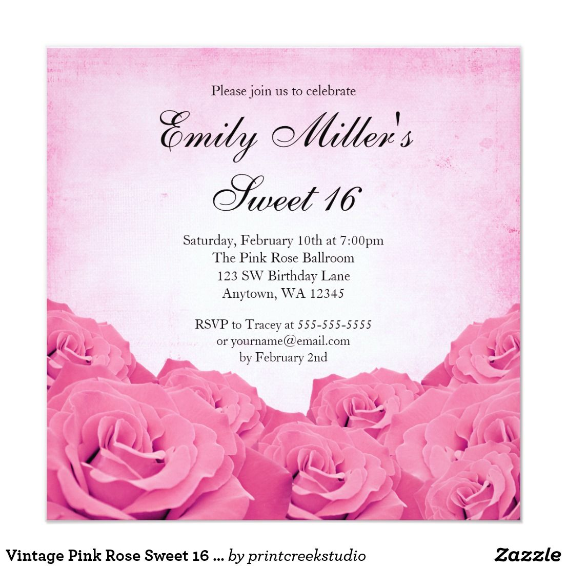 Vintage Pink Rose Sweet 16 Birthday Party Card Invitations Roses Are Featured On This Themed